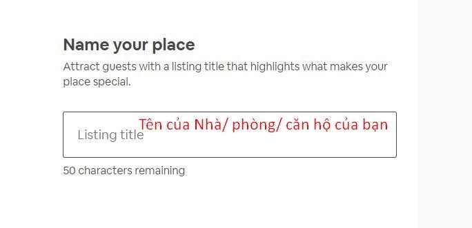 Viết tên cho nhà bạn cho thuê Airbnb