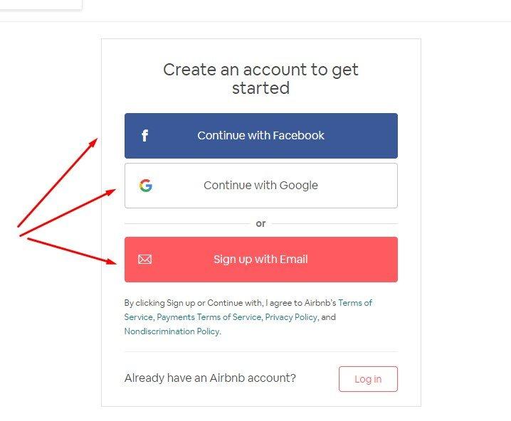 đăng kí tài khoản airbnb host qua facebook/google/email