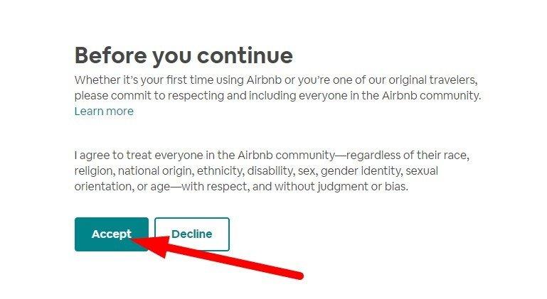 Chấp thuận bản thoả thuận của Airbnb trước khi đăng phòng bán