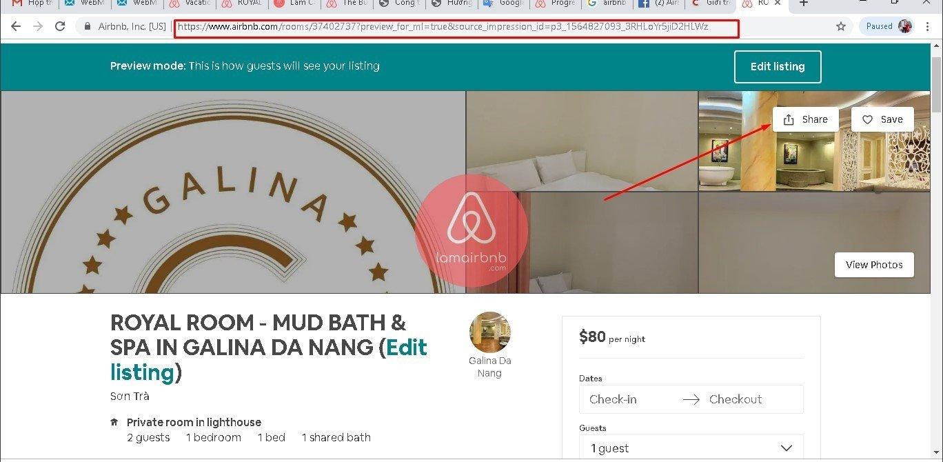 Có 2 cách để lấy link cho thuê nhà trên airbnb bạn nhé