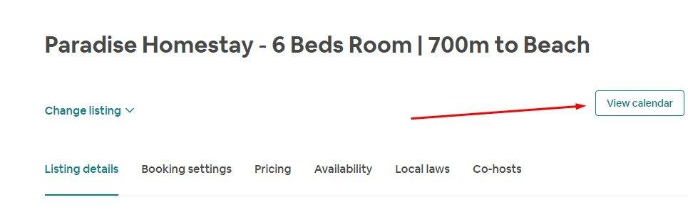 Click Calendar của Listing bạn cần đóng & mở lịch airbnb