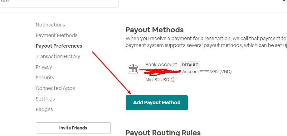 Nhấn Add Payment Method để thêm thẻ ngân hàng vào Airbnb