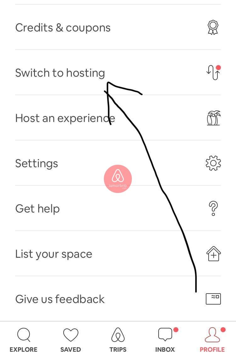 Chuyển sang chế độ Hosting Airbnb