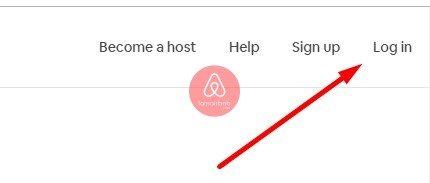 Nhấn Login để đăng nhập Airbnb Host