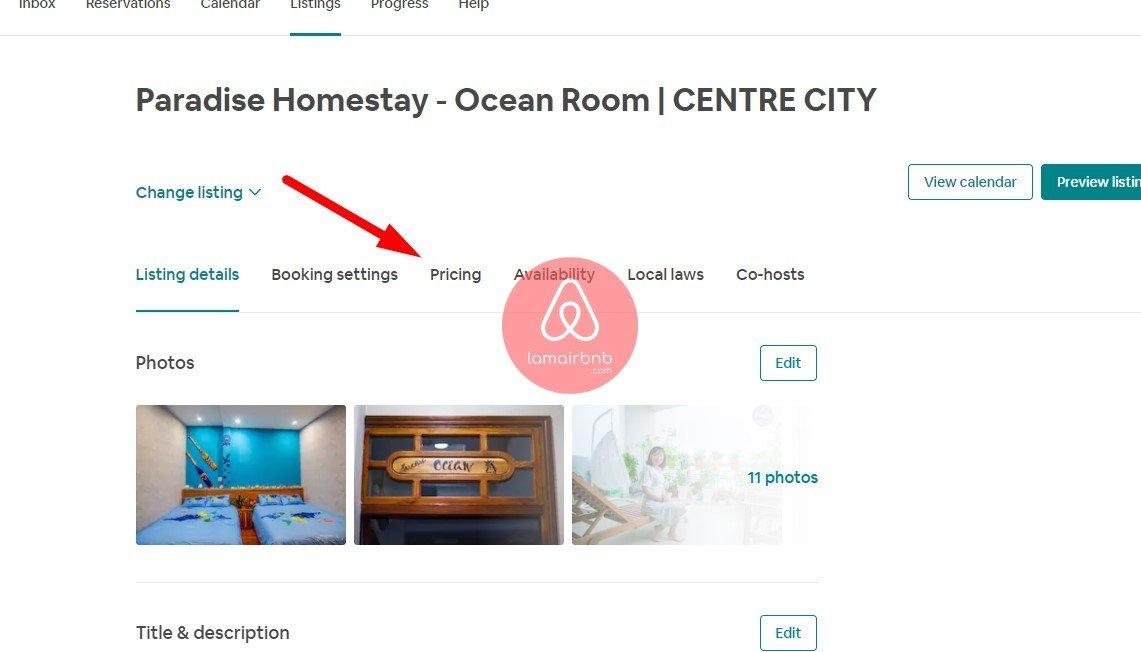Vô listing bạn chọn -> Pricing