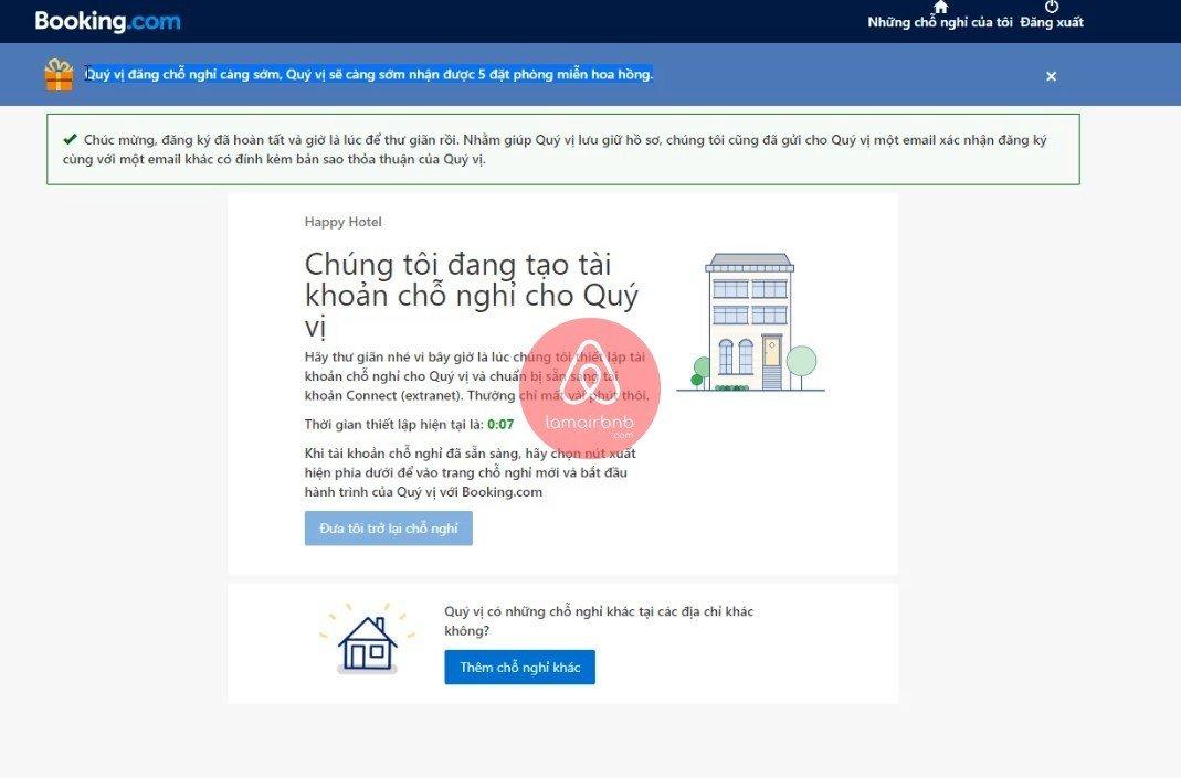 Hoàn thành đăng kí booking, đăng kí bán phòng trên booking.com